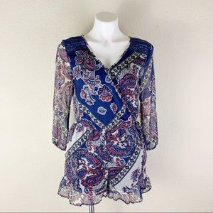 Band Of Gypsies Floral Paisley Bandana Lace Romper